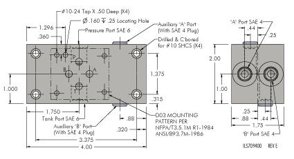 Vektek: Products: Hydraulic: Directional Control Valves: Valve Subplates | Hydraulic Manifold Schematic |  | Vektek